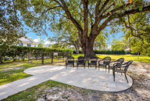 Cement patio area with outdoor chairs surrounded by trees and yard space
