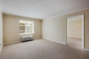 Large unfurnished carpeted bedroom with window and central air system